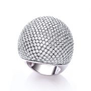 J-JAZ Micro Pave' Big Cocktail Ring with 503 White Cz
